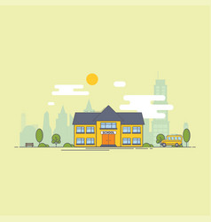 bright flat school building vector image