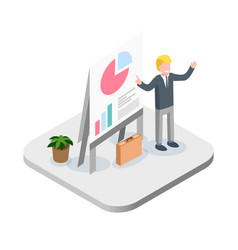 Business presentation isometric financial vector