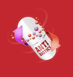 Capsule with content antibiotic or probiotic vector