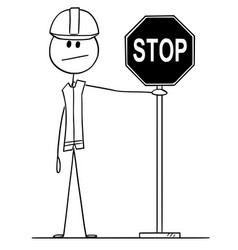 Cartoon construction worker holding stop road vector