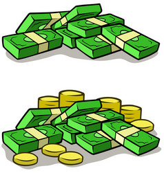 cartoon money stack piles of cash and coins vector image