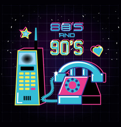 Cellphone and phone of eighties and nineties retro vector