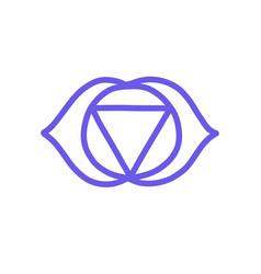 Chakra ajna doodle icon color vector
