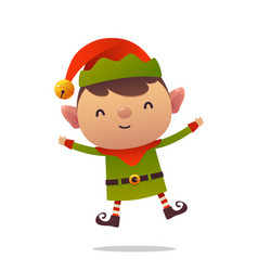 Cheerful cartoon cute christmas elf jumps vector