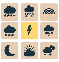 climate icons set with rainbow sunlight weather vector image