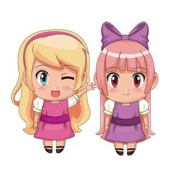 Colorful full body couple cute anime girl facial vector