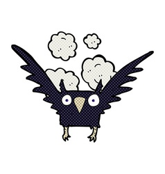 Comic cartoon spooky bird vector
