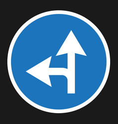 Compulsory ahead or left sign flat icon vector