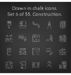 Construction icon set drawn in chalk vector image