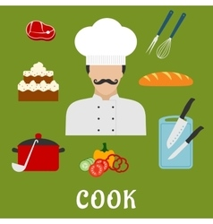 Cook with food and dishes Flat icons vector image