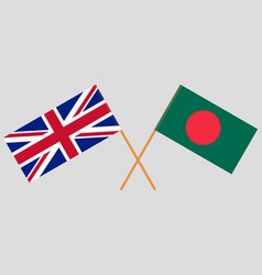 Crossed flags bulgaria and uk vector