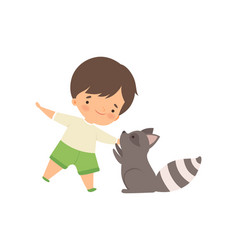 Cute boy playing with raccoon kid interacting vector