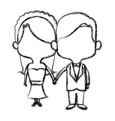 Cute couple husband wife in wedding suit togethe vector