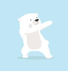 cute polar bear dabbing movement vector image