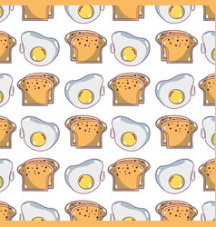 delicious slice breads and fried egg background vector image