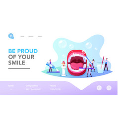 dental care landing page template tiny dentists vector image
