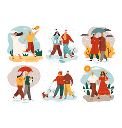 different weather and seasons with people vector image