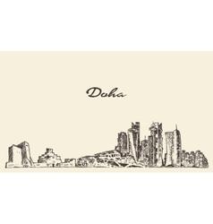 Doha skyline hand drawn vector