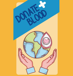 Donate blood card vector