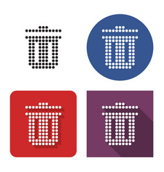 dotted icon refuse bin in four variants with vector image