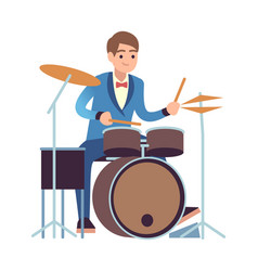 Drummer performance classic male musician vector