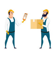 Factory warehouse worker checking box with list vector