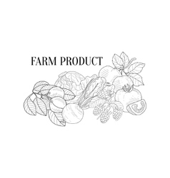 Farm Products Still Life Hand Drawn Realistic vector