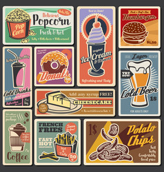 fast food burgers hot dogs desserts retro menu vector image