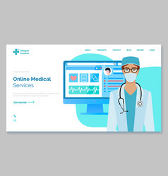 female doctor with phonendoscope advertising of vector image