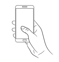 female hand holding a smart phone on white vector image