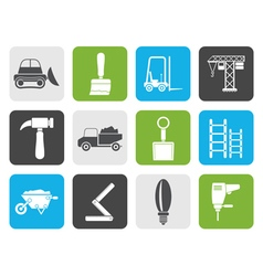 Flat Building and Construction equipment icons vector image