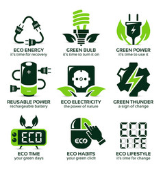 Flat icon set for green eco electricity vector