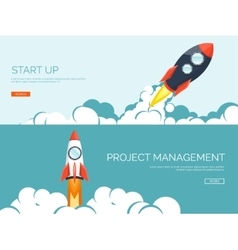 Flat rocket Project start up Space Smart vector image
