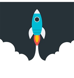 Flat stylized flying rocket vector image