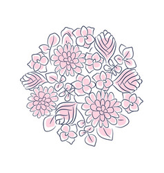 floral rosette isolated composition vector image