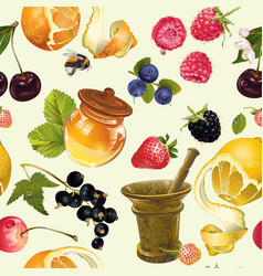 Fruit cosmetic seamless pattern vector image