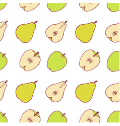 fruit pear and apple seamless pattern vector image