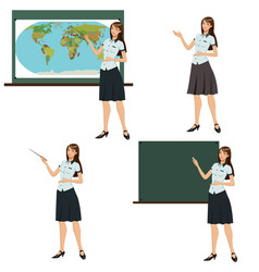Girl teacher shows vector