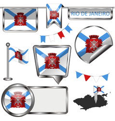 Glossy icons with flag of rio de janeiro vector