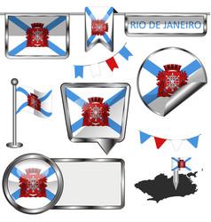 Glossy icons with flag rio de janeiro vector