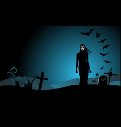 Halloween background with woman ghost vector