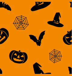 halloween orange background with black witch hat vector image