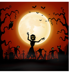 halloween with zombie walking in graveyard vector image