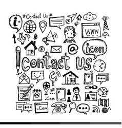 Hand draw contact us icon design vector