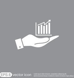 hand holding a chart diagram figure business icon vector image