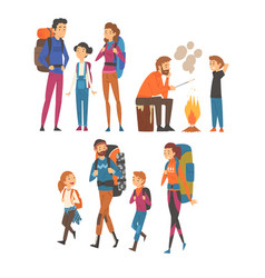 Happy families travelling with backpacks set vector