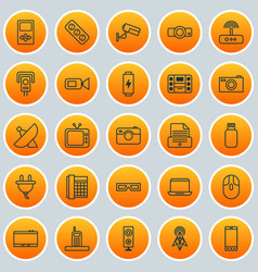 Hardware icons set collection of antenna usb vector