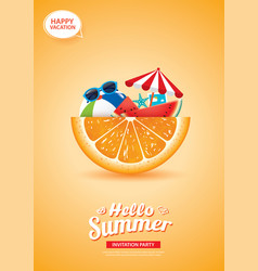 hello summer card banner with orange background vector image