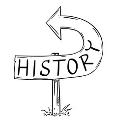 History arrow sign bent backward showing wrong vector