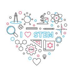 I love stem heart outline vector